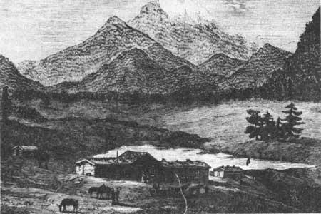 Dessin d'Isabella Bird lors de son séjour dans la vallée encore sauvage d'Estes Park